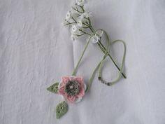 Crochet Jewelry  Pink Flower Necklace  by DianesCrochetFinery