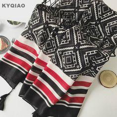 Trouver plus Foulards Informations sur KYQIAO Designer hijab écharpe pour femmes  automne hiver Espagne style hippie de mode long noir imprimé géométrique ... a16d3508fba