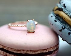 Items similar to Rose Gold Fire Opal Oval Shape Engagement Promise Ring Anniversary Wedding Love Bead Rope Design on Etsy Rose Gold Promise Ring, Wedding Rings Rose Gold, Bridal Rings, Opal Rings, Gold Rings, Engagement Rings, October Birth Stone, Beaded Rings, Rings