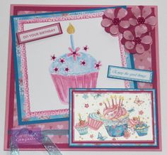 Carole Davis - Sugar and Spice CD - 8x8 Card - Toppers 1 - Design Set 7/2 - Co-ordinating Paper 3/1 - Sentiments 5 - Neenah Solar White - Sheena Stamping Card - Satin Finish Paper - Printable Light Card - Die'sire Forget Me Not - Embossalicious 6x6 Birthday Cupcake, 8x8 Cakes Galore