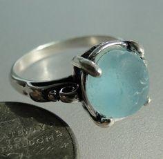 HL Sea Glass & Beach Glass Jewelry, beautiful blue sea glass ring!