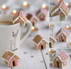 Mini gingerbread house on cup edge cookie cutter set- Mini Lebkuchenhaus auf Tassenrand Ausstech Set Small edible mini cookie houses as decoration for the table or on the cup 🏠😍 - Christmas Gingerbread House, Christmas Sweets, Noel Christmas, Diy Christmas Gifts, Christmas Baking, Christmas Cookies, Christmas Decorations, Gingerbread Houses, Christmas Coffee