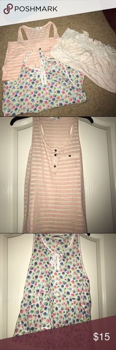 Tank top bundle All size small. Pink stripped one from Forever 21, flowery from Abercrombie, and cream one from Marshall's. Barely worn Abercrombie & Fitch Tops Tank Tops