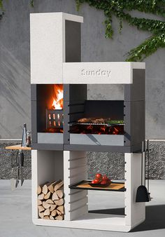 Sunday One grill by Emo Design... Sunday grill from Emo Design introduces a revolution for the barbecue market. One, the new range of fixed barbecues, thanks to the patented system Duo, permits to choose from 3 different ways of cooking - the traditional wood or charcoal or the convenience of gas cooking.