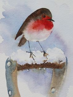 Watercolour 10×20cm Artists watercolours on Arches 140not / I love the way robins will perch on a spade handle. I leave a spade out in the garden deliberately just to see them do it. They do seem to like human company. / This image was produced as a charity Christmas greetings card this year 2010 by Medici Cards so it is not for sale as a card, but I thought I'd share it with you anyway! • Buy this artwork on stationery and wall prints.