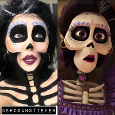 Mama Imelda from Coco! -Using water activated paints (Snazaroo) from Michaels … Mama Imelda from Coco! -Using water activated paints (Snazaroo) from Michaels and eyeshadow! perfect for a unique Halloween costume! Looks Halloween, Unique Halloween Costumes, Halloween Cosplay, Halloween Diy, Disney Halloween Makeup, Costume Ideas, Unique Halloween Makeup, Halloween Fashion, Coco Costume