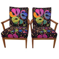 "Carl Malmsten ""Stugan"" Cottage Armchairs with Josef Frank Fabric, Sweden, 1950s 