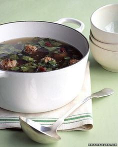 Lucky New Year's Food: Greens - Escarole and Meatball Soup Recipe