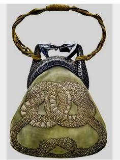 Lalique 'Two Serpents' Handbag 1903: gold/ silver/ antelope suede/ silver…