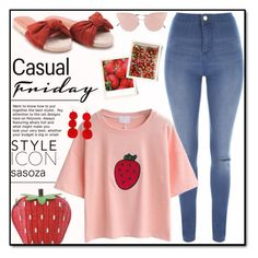 """Strawberries inspiration by Sasoza"" by sasooza ❤ liked on Polyvore featuring Jane Norman, So.Ya and Humble Chic"