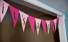 Sign when you come in. Can be easily made from scrapbook paper, ribbon, and letters!