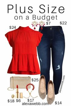 Plus Size on a Budget – Holiday Outfit or Christmas Outfit with Red Top and Jeans with Gold Accessories - Alexa Webb #plussize #alexawebb