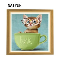 >> Click to Buy << 30*30cm 5D DIY Diamond Painting Glass Cat in Cup Mosaic Rhinestone Crystal Diamond Painting Cross Stitch Embroidery Home Decor  #Affiliate