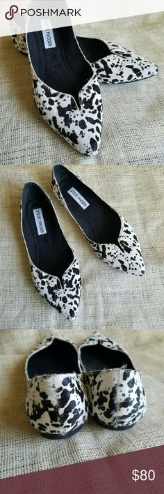Steve Madden Cow Print Calf Hair Pointy Toe Flats LIKE NEW! Pony hair flats are so chic! This is genuine calf hair, black and white cow print style. Super cute shape to it, the slit is a nice detail! Condition is excellent. Website says true to size, I can't verify since I'm a size 9, but I'm happy to provide measurements if desired. Offers welcome! Steve Madden Shoes Flats & Loafers