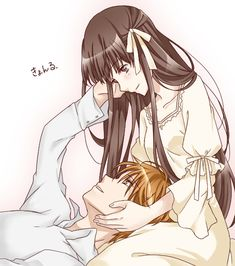 Anime Couples Drawings, Anime Couples Manga, Cute Anime Couples, Anime Couples Cuddling, Anime Couples Hugging, Romantic Anime Couples, Fruits Basket Anime, Fruits Basket Quotes, Fruits Basket Cosplay