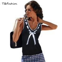 Spring Summer New Tank Tops Women Sleeveless V-Neck Casual T-Shirt Rural Style  Ladies Vest Singlets with Bow and Print
