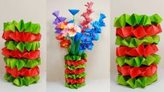 How to Make Paper Flower Vase! Paper Flower Vase, Paper Vase, Flower Vases, Pinterest Instagram, Diy Papier, How To Make Paper, Flower Decorations, Paper Crafts, Easy