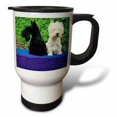 3dRose Scottie And Westie, Travel Mug, 14oz, Stainless Steel