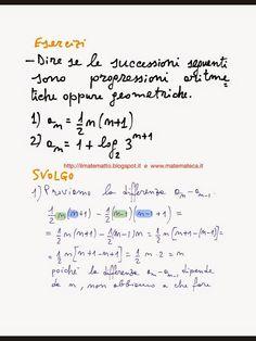 Matematica del quinto anno di scuola superiore: ESERCIZI SVOLTI SULLE PROGRESSIONI ARITMETICHE E GEOMETRICHE