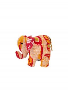 This cuddly elephant features Kantha stitching and recycled cotton sari fabric, making it an eco‒friendly and huggable toy for your ethical nursery. Our fair trade partner Sasha Exports helps textile makers earn sustainable incomes and preserve their traditional craft skills through access to new markets. Colors and patterns vary.