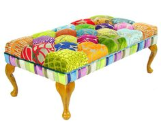 Bespoke Patchwork Footstool/Coffee Table by JustinaDesign on Etsy