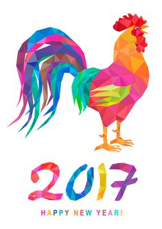 Low poly colorful rooster and lettering 2017 on white background. Chinese horoscope symbol. Happy new year.