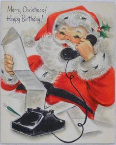 #1131 60s Hallmark Glittered Santa Claus on the Telephone-Vtg Christmas Card