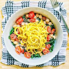 Garlic-Lemon Kale Salad with Roasted Spiralized Golden Beets, Tomatoes, Chickpeas, and Parmesan Cheese — Kale Me Maybe
