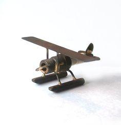 Metal Art Spark Plug Float Plane signed by MargsMostlyVintage, $30.00
