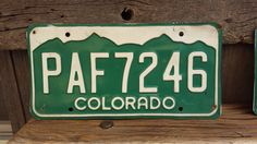 Colorado License Plate Number PAF7246    #GreenAndWhite #VintageColorado #CoLicense #PAF7246 #RockyMountains #VintageColoPlate #CoLicensePlate #VintageCoPlate #ColoradoPlate #LicensePlate