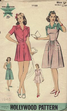 1940s Playsuit and Pinafore Sewing Pattern by Hollywood Patterns