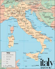 Downloadable, printable map of Italy to add real pins to.  How many places in Italy have you been?