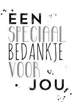 """Leuke trendy bedank kaart met de tekst """"Een speciaal bedankje voor jou!"""", verkrijgbaar bij #kaartje2go voor €1,89"""