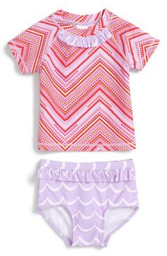 Tucker + Tate Two-Piece Rashguard Swimsuit (Baby Girls)