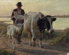 Julius Paul Junghanns: Am abendlichen Rheinufer. Bauernjunge mit seinen Tieren auf dem Heimweg aus unserer Rubrik: Gemälde des 19. Jahrhunderts