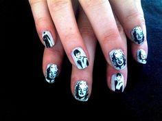 Marylin Monroe & Audrey Hepburn nail art
