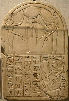 """intaier:  Two Goddesses of the Hours (wearing a Star) protecting and making adorations to Thoth (ibis-headed, with the Ankh, and wearing the Lunar Crow with the Crescent); on the top, the hieroglyph for """"sky"""".In the lower register, a scribe kneeling and making adorations.Now in the Kestner Museum of Hannover.via: Amentet Neferet on FB"""