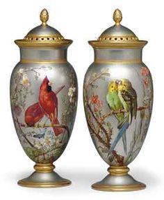 pair of Paris porcelain platinum ground potpourri vases and covers.