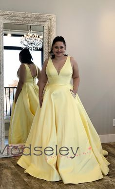 9453d2f3383 Yellow Long Prom Dress with Beaded Pockets from modseleystore. Prom Dresses  With PocketsHoco DressesPlus Size ...