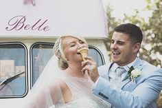 Bride and groom vintage ice cream van - Tara & Jack Wedding - More in the blog! by Ana Gely A. Photography