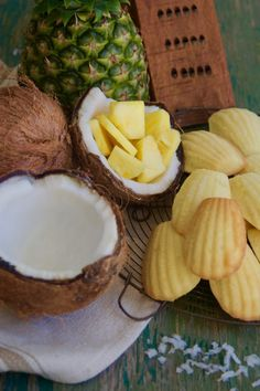 Pineapple Coconut French Madeleines table