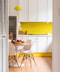 Kitchen, Bright Yellow Kitchen Backsplash White Kitchen Cabinets A Set Of Simple Dining Furniture Beautiful Yellow Pendant Lamp Unfinished Wood Planks Floors ~ Colorful Backsplash Tiles for Kitchens Home Interior, Interior Design Kitchen, Home Design, Design Hotel, Design Bathroom, Kitchen Designs, White Kitchen Cabinets, Kitchen Dining, Kitchen Decor
