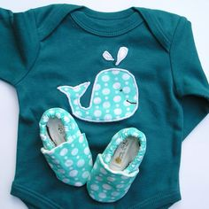 Organic Baby Clothes 0-3 months SHORT Sleeve Whale  Blue Gift Set- Bodysuit with Applique and Matching Organic Crib Shoes. $43.00, via Etsy.