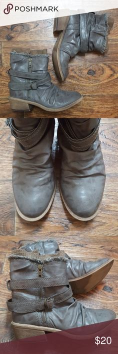 Slouch Faux Leather Booties ✔ Add your likes to a bundle and submit best offer for a deal!  ️ Slouchy leather like booties with sweater material peeping through top ️ Zips on side with wrap around adjustable strap ️ Perfect for this upcoming fall! American Rag Shoes Ankle Boots & Booties