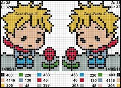 Dinha Ponto Cruz: Strips for upper sheet – bordados – Hama Beads Kawaii Cross Stitch, 123 Cross Stitch, Cross Stitch For Kids, Cross Stitch Patterns, Pixel Art, Stitch Cartoon, Stitch Book, The Little Prince, Crochet Cross