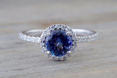 18k White Gold Round Cut Tanzanite Diamond Halo Wedding Engagement Promise Ring Anniversary