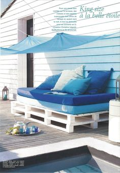 Marie Claire Idees 75 - pallet furniture #upcycled decor #outdoorrooms #outdoorspaces
