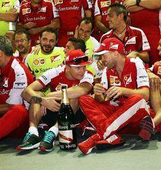 "Vettel:""Did empty that bottle?"" Raikkonen:""What do you think!"""