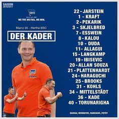 Mit diesen Männern bricht Hertha BSC auf um in Mainz zu punkten!  #M05BSC #hahohe