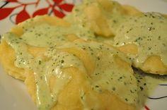 A Spoonful of Sugar: Crab Ravioli with a Pesto Alfredo Sauce - similar to Old Spaghetti Factory's recipe